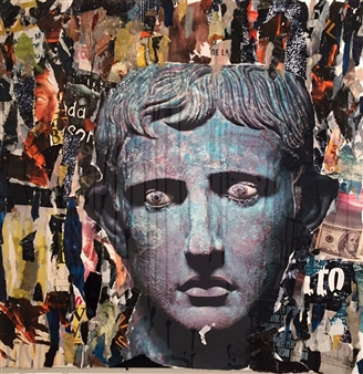 """Augusto Collage on Canvas 39.5"""" x 39.5"""" x 2"""""""