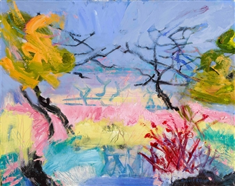 """View of Maggie's Garden Acrylic & Oil on Canvas 24"""" x 30"""""""