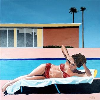 "Linda Sunbathing at David Hockey's A Bigger Splash Home Acrylic on Canvas 36"" x 36"""