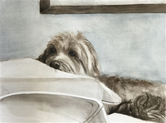 """Dog Meditating Watercolor on Paper 12"""" x 16"""""""
