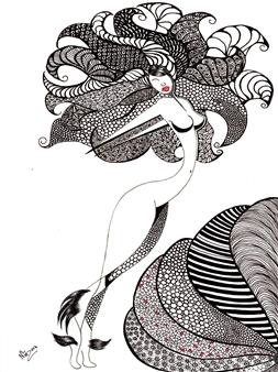 "Reflejo Black Fine Point Pen & Colored Markers on Paper 17"" x 11"""