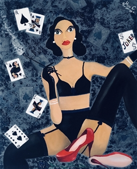 """The Poker Queen Acrylic & Oil on Canvas 30"""" x 24"""""""