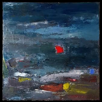 """No. 9 Acrylic, Oil & Mixed Media on Canvas 27.5"""" x 27.5"""""""