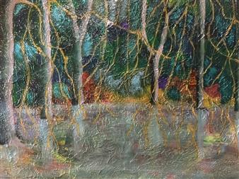 "River Trees Acrylic on Cardboard 23"" x 33"""