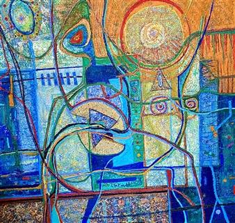 """Abstracto y Figuras Acrylic on Canvas 42"""" x 40"""""""