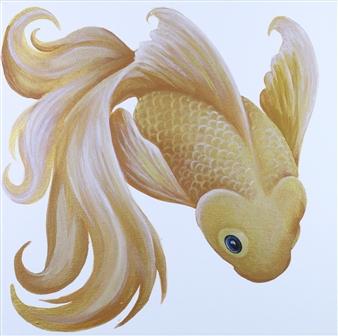 "Golden Fish: Mom Acrylic on Canvas 12"" x 12"""