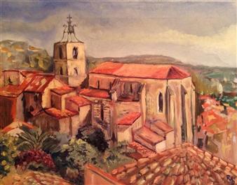 """Saint Paul  à Hyères Oil on Canvas 15.5"""" x 19.5"""""""