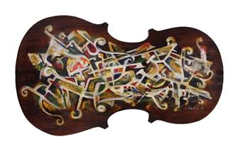 """Composition 2 Acrylic & Mixed Media on Cello 17"""" x 30.5"""""""