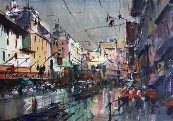 """Tramvías Watercolor 12"""" x 16.5"""""""
