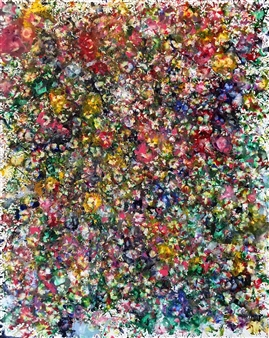 """Field of Blooms Encaustic on Canvas 60"""" x 48"""""""