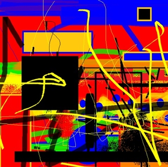 """Out of the Coloured Boxes Digital Artwork on Canvas 48"""" x 48"""""""