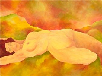"Waking Goddess Acrylic on Canvas 30"" x 40"""