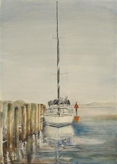 "Sailboat at Ruke's Pier Watercolor on Paper 27"" x 20"""