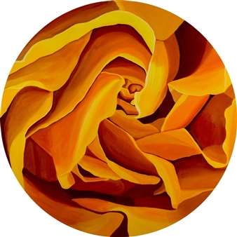 "Victoria Gold Acrylic on Canvas 30"" x 30"""