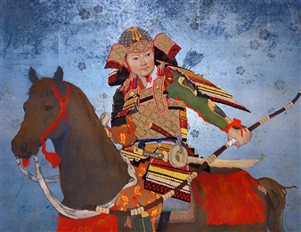 """Mountain Warrior of the Heian Period Mixed Media on Japanese Paper 16"""" x 21"""""""