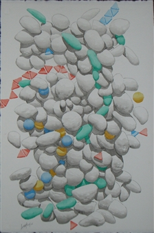 "Casualità 8  (Casualty 8) Watercolor on Paper 24.5"" x 15"""