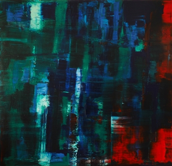 Reflection: Green, Blue on Red