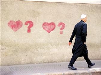 """Druze Man Walking, Beirut, Lebanon. Photograph on Metallic Paper 12.5"""" x 18.5"""""""