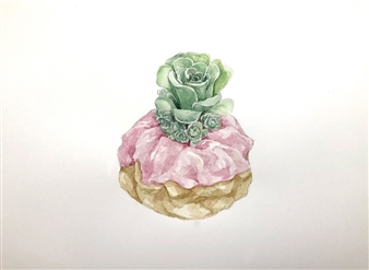Pink Swirl Succulent Donut