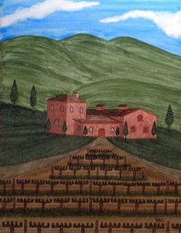"Tuscany Vineyard Watercolor on Board 24"" x 19"""