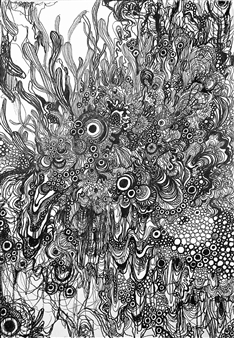 """Floating Ⅱ Pen on Paper 13.5"""" x 9.5"""""""