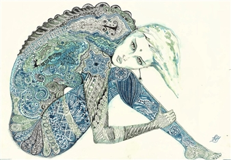"Blue Mirror Pen on Paper 17"" x 24"""