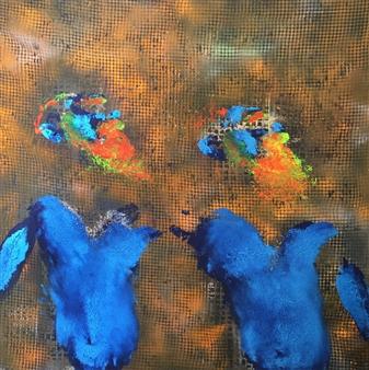 """Transfer Acrylic & Spraypaint on Canvas 39.5"""" x 39.5"""""""
