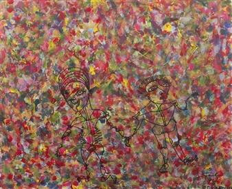 "Together We Tread Acrylic & Ink on Canvas Board 20"" x 24"""