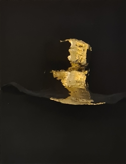 """Silver Lining Mixed media, Acrylic, Sculpture (made out of real women casting) and 24K Gold Leaves on Canvas 16"""" x 12"""""""