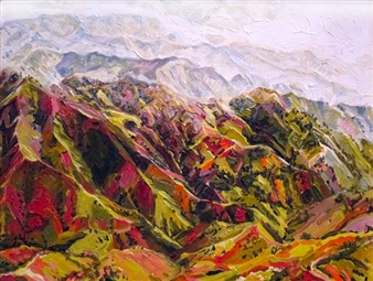 "Mountains of Seguin Oil on Linen 13"" x 17"""