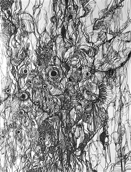 """Floating Ⅲ Pen on Paper 16"""" x 12.5"""""""