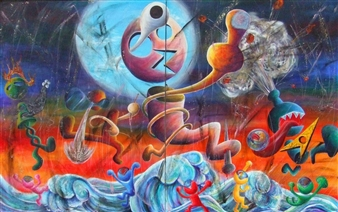 """Rock'n'Roll Monsters Acrylic on Canvas 64"""" x 103"""""""