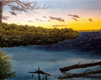 "A Riverbank Acrylic & Oil on Canvas 16"" x 20"""