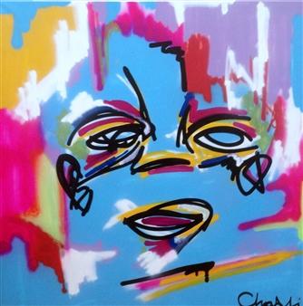 "Untitled 13 Acrylic, Marker & Spray Paint on Canvas 39.5"" x 39.5"""
