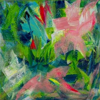 "Summer Vibe Acrylic on Linen 39.5"" x 39.5"""