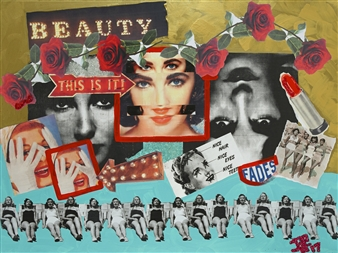 """Beauty Fades Mixed Media Collage on Canvas 30"""" x 40"""""""