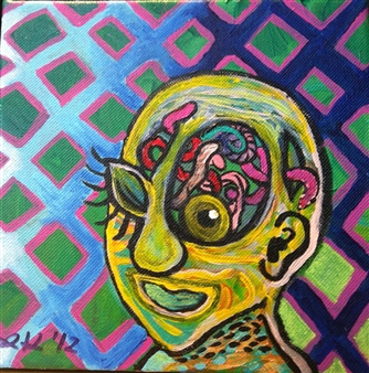 "The Thinker Acrylic on Canvas 8"" x 8"""