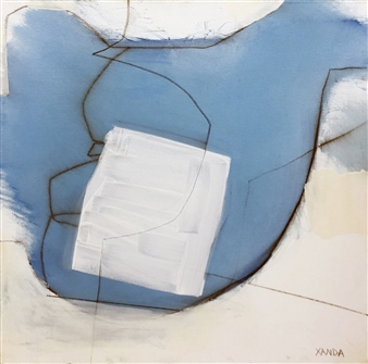 """Blue White Line Oil and graphite on Canvas 20"""" x 20"""""""