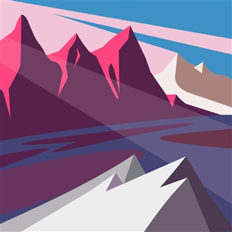 "Mountain Light Digital Print on Paper 18"" x 18"""