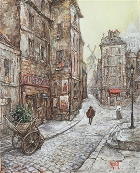 """Old Street in Montmartre Oil on Canvas 18"""" x 15"""""""