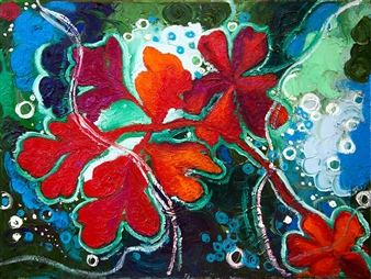 """Blooming Under the Water Oil on Canvas 24"""" x 18"""""""
