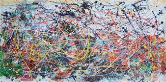 "Untitled Acrylic & Glycerol Paint on Canvas 31"" x 58"""