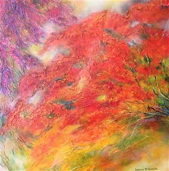 "A Flamboyant Summer Acrylic on Canvas 31.5"" x 31.5"""