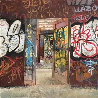 """Introverted"" - Abandoned Psychiatric Ward Acrylic on Wood Panel 12"" x 12"""
