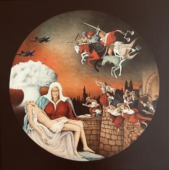 """Allegory of War Acrylic & Oil on Board 20"""" x 20"""""""