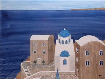 "Santorini Watercolor on Board 19"" x 23"""