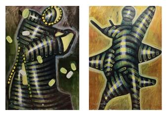 "Angel_10, 1987-2015 Dispersion & Gouache on Paper 39.5"" x 55"""