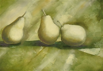 Three Pears in Pastel