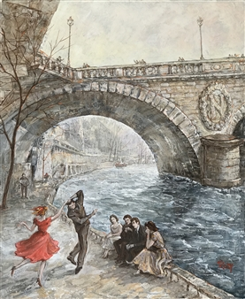 "Dancers by Napoleon Bridge Oil on Canvas 25.5"" x 24"""