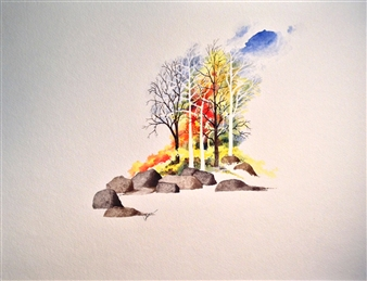 """Trees Watercolor on Paper 18"""" x 23.5"""""""